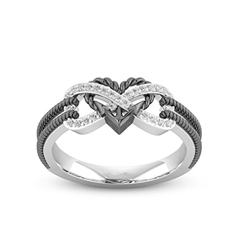 TEMEGO 2 Tone Small CZ Infinity Ring,Twisted Rope Endless Love Heart Arrow Black Wedding Ring Cut Out