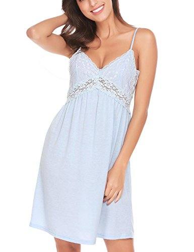 Knee Length Chemise (Legros Women's Sleepwear Chemise Lace Nightgown Lounge Dress, Light Blue, L)