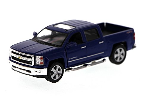 2014 Chevy Silverado Pick-up Truck, Blue - Kinsmart 5381D - 1/46 Scale Diecast Model Toy Car