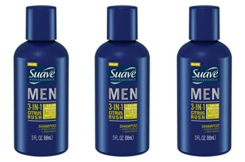 Suave Men 3-in-1 Shampoo + Conditioner + Body Wash Citrus Rush 3 oz Travel Size (pack of 3)
