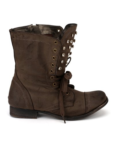 Leatherette Bootie Jewel Cuff Lace Brown Nature Breeze Ankle Folding 05 Prima Brush 644HnS