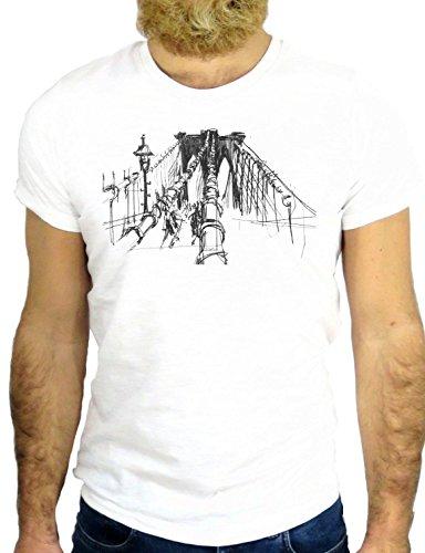 T SHIRT Z0763 BROOKLYIN BROOKLIN BRIDGE NEW YORK USA NY VINTAGE TATTOO GGG24 BIANCA - WHITE M