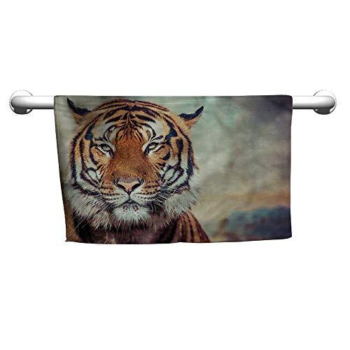 (alisoso Customized Bath Towels Tiger,Large Calm Wild Cat Blur W 20
