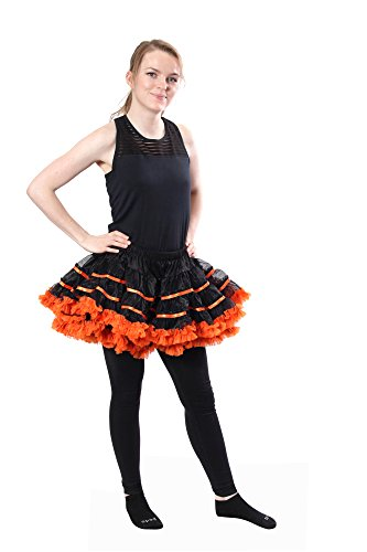 BellaSous Layered Striped Tulle Costume Petticoat Tutu Skirt for Halloween, Valentine's Day, Costume Wear (Black With Orange, One Size) -
