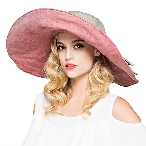 Womens Big Bowknot Beach Hats Wide Brim Hat Floppy Foldable Roll up Beach Cap Sun Hat UPF 50+ with Neck Cord (Pink)