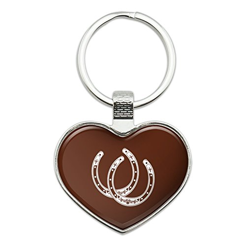 Horseshoe Lucky Double Cowboy Brown Heart Love Metal Keychain Key Chain Ring