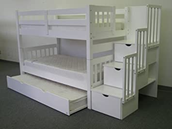 Bedz King Twin Over Twin Stairway Bunk Bed with Twin Trundle