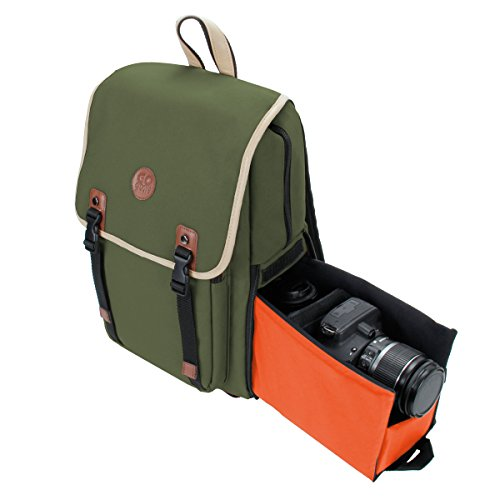 (DSLR Camera Backpack by GOgroove (Mid-Volume Green) with Interior Tablet Sleeve, Dual-Side Quick Camera Access, Phone Storage and Dual Accessory Areas for Canon, Nikon, Olympus and More)