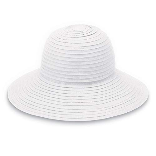 (Wallaroo Hat Company Women's Scrunchie Sun Hat - Solid White - UPF 50+, Ultra-Lightweight, Packable for Every Day, Designed in)