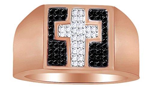 e Natural Diamond Cross Band Ring in Rose Gold Over Sterling Silver Ring Size - 14 (18kt Over Sterling Silver Cross)