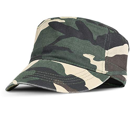 Military Cadet Cap Washed Cotton Twill Plain Low Profile Army Hat with Adjustable Strap Flat Top Baseball Golf Cap for Men Women camo ()