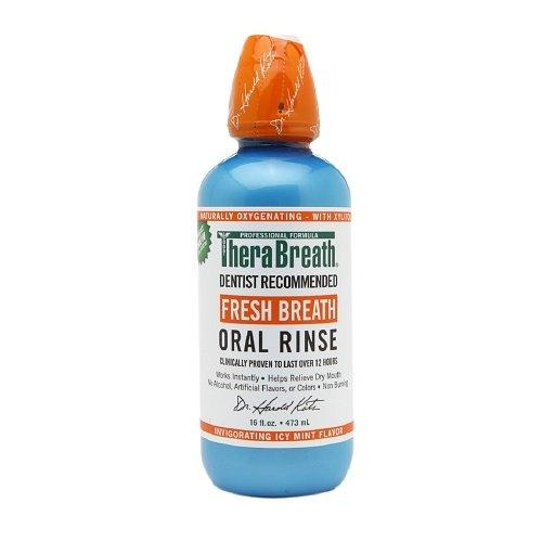 TheraBreath Fresh Breath Oral Rinse, Invigorating Icy Mint 16 oz (PACK OF 3)