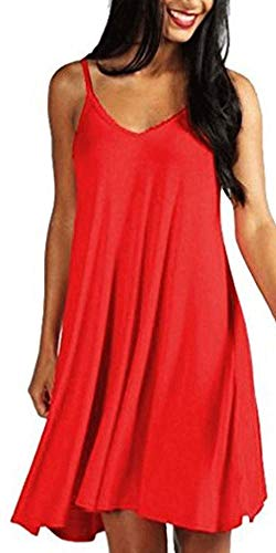 (Mutoto Womens Adjustable Spaghetti Straps V Neck Plain Casual Summer Beach Sundress Swing Dress (XL, Red Sundress))