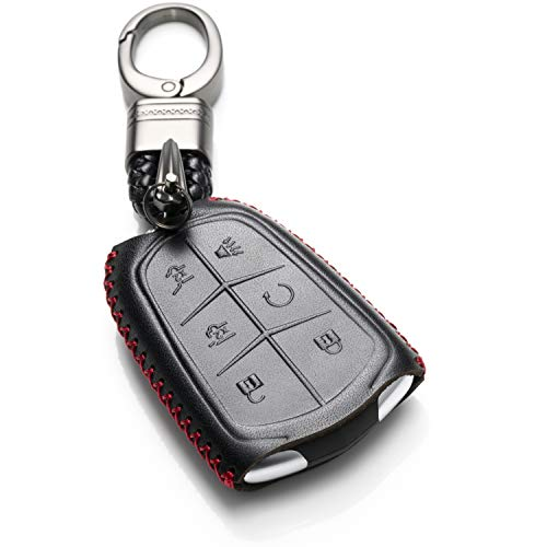 (Vitodeco Genuine Leather Smart Key Keyless Remote Entry Fob Case Cover with Key Chain for 2015-2019 Cadillac Escalade, Escalade ESV (6 Buttons, Black/Red))