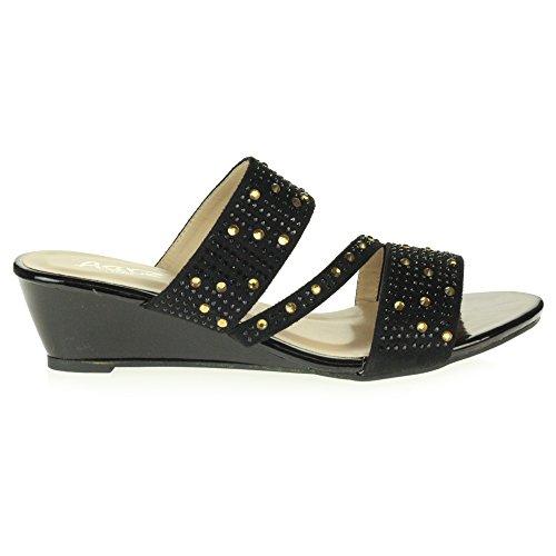 Glisser Décontractée Noir Talon sur Femmes Sandales Chaussures Dames Fête Bas Taille des Cristal Soir compensé Diamante 4zxZBwzXq