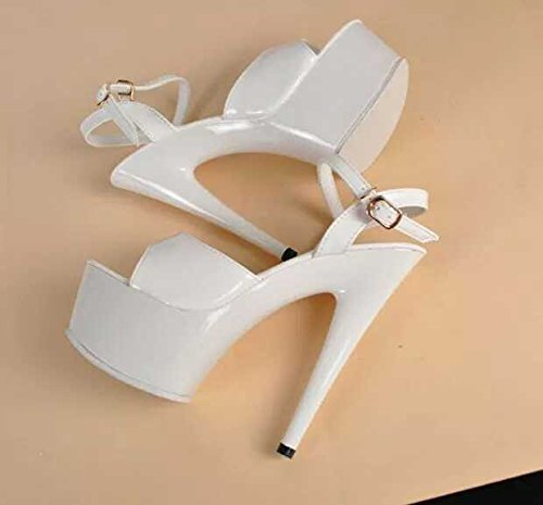 Xing Lin Ladies High Heel Sandals The Ultra-Thin High Heels With With 15Cm Waterproof Platform Sandals Ultra-Steady Night High-Heel Shoes Black Work Shoes, White 15cm