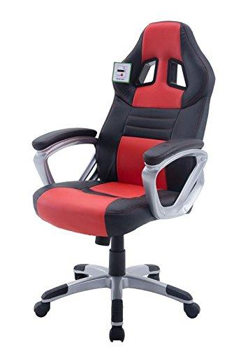 Silla de oficina ejecutiva sillón reclinable deportes Racing ajustable Gaming, color negro/rojo