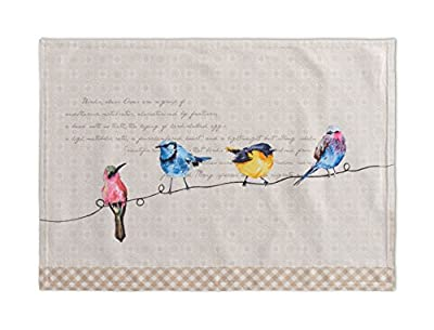 Maison d' Hermine Birdies On Wire 100% Cotton Set of 2 Placemats, 13 - inch by 19 - inch.