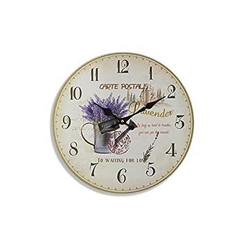 Druline Wanduhr Carte Postale Lavender Landhaus Holzuhr Uhr
