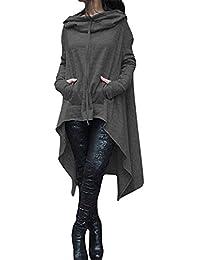 FANTIGO Women Long Sleeve Irregular Hem Loose Long Hooded Cloak Pullover Sweater