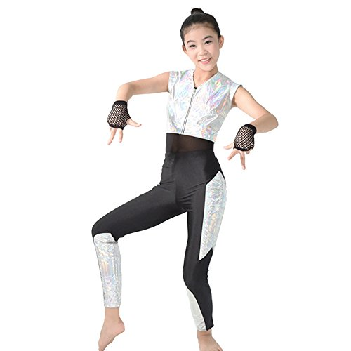 [MiDee Girl's Hip Hop High Street Dance Costumes Sizes 10 US Red (SA, Silver)] (Silver Dance Costume)
