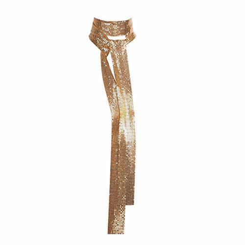 Sequin Skinny Belt - iiniim Women Glitter Sparkle Metal Sequins Neck Tie Scarf 160cm Thin Skinny Long Neckerchief Gold One Size