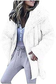 Womens Warm Faux Coat Jacket Winter Plush Zipper Hooded Outerwear Oversized Long Sleeve Outerwear
