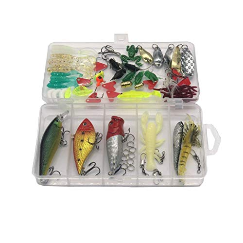 Lightahead 77pcs Fishing Lures Kit Set to Catch Bass, Trout, Salmon. Includes Spoon Lures, Crank Bait, Jigs, Soft Plastic Worms and Other Lures in Plastic Box