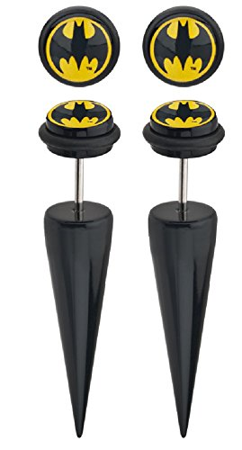 Earrings Rings Acrylic 18g Faux Tapers with Batman Logo Fronts. Sold as a pair