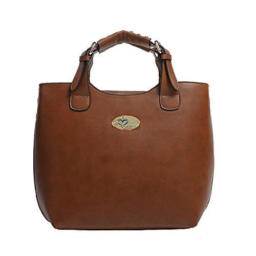 Iuha Fashionable Genuine Leather Zip Double Handle 3-way Shoulder Bag Tote-Brown