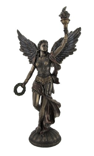Veronese Design Bronzed Nike Goddess of Victory Raising Torch Statue