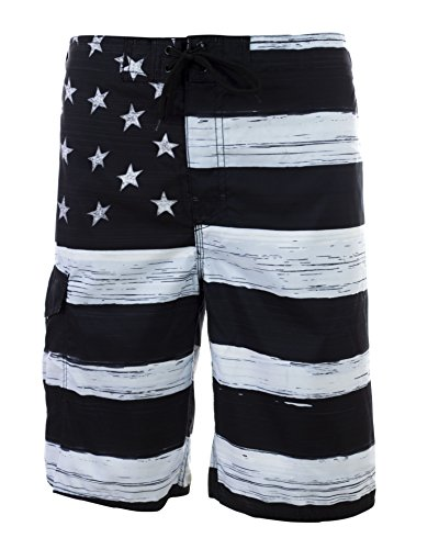 Trunks Swim Men - Men's American Flag Inspired Board Shorts Medium Black/White