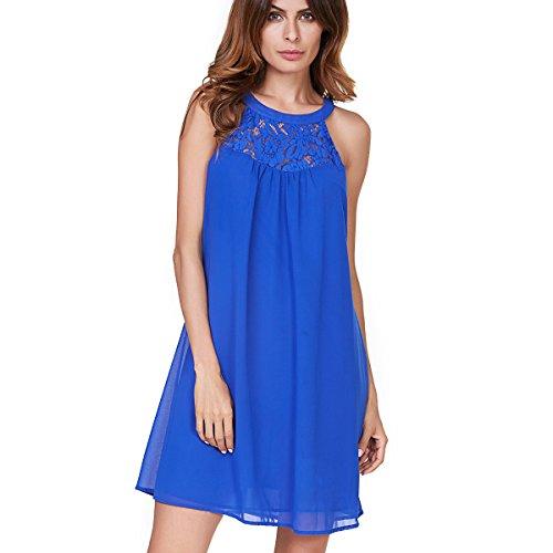 Vanberfia Women's Sleeveless Lace Patchwork Loose Casual Mini Chiffon Dress (L, 6333)