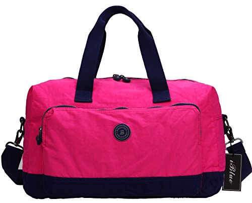 Iblue Waterproof Lightweight Weekend Travel Gym Totes Shoulder Duffel Bags 17in#Bl8002 (hot pink) from iblue