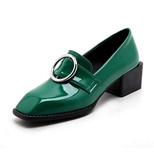 GIY Women's Square Toe Buckle Oxford Shoes Patent Leather Slip On Mid Heel Dress Oxfords Loafer Pumps Green