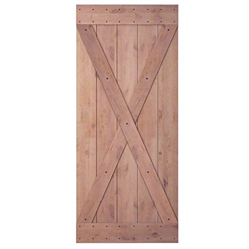 JUBEST 36in 84in Natural Knotty Alder Interior Sliding Barn Wood Door Slab(Disassembled&Pre-slotted), X-frame