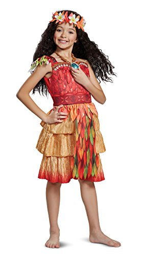 Tier Crinkle Skirt (Disguise Moana Epilogue Deluxe Child Costume, Red, Size/(4-6x))