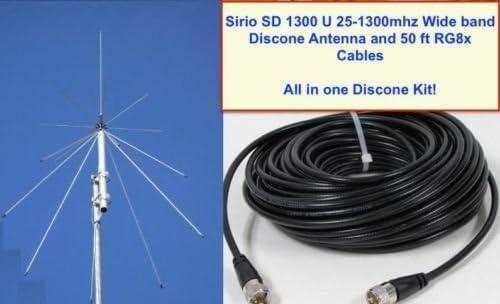 Sd 1300 Sirio Discone Antenne 25 Mhz 1 3 Ghz Mit 50 Ft Rg8 X Koax Audio Hifi