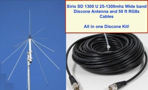 SIRIO SD 1300 Discone Antenna 25 MHz - 1.3 GHz with 50ft RG8x Coax by Sirio Antenna (Image #6)