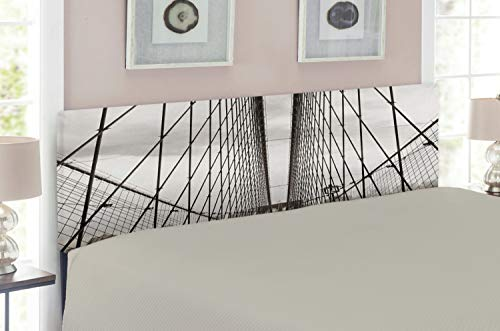 Ambesonne New York Headboard, Brooklyn Bridge Cables and New York City Downtown Skyline Photography Urban, Upholstered Decorative Metal Headboard with Memory Foam, Dust and Black ()