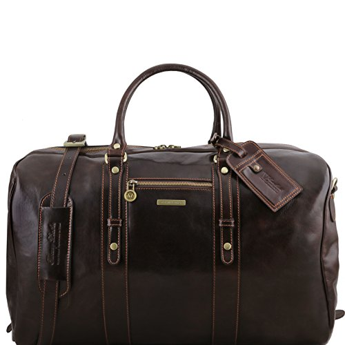 Tuscany Leather TL Voyager Leather travel bag with front pocket Dark Brown by Tuscany Leather