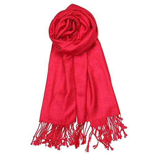 MissPretty Cashmere Scarf Soft Wraps Wool Shawls Stole Winter Scarves for Men and Women (Red) -