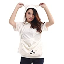 Kangaroo Pouch Japanese Style Large Pocket Hoodie Short Sleeve Sweatshirt