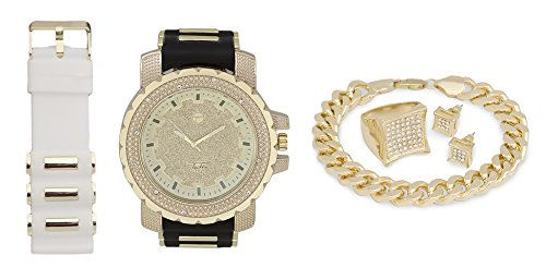 Techno Pave Fashion Jewelry Gift Set: Gold Plated Watch + Extra Watch Band + Gold Plated Bracelet + Iced Out Earrings & Ring [Gift Set] from Techno Pave
