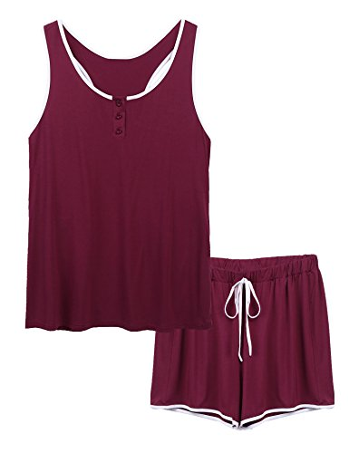 Aimado Women Casual O-Neck Sleeveless Night Shirt Button Elastic Waist Plus Pajama Set(Wine Red,XX-Large) - Sleeveless Button Waist Shirt