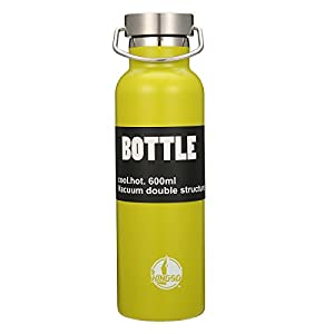 KINGSO Flask Double Wall Vacuum Insulated Stainless Steel Sports Water Bottle 20 oz Leak & Sweat Proof Standard Mouth with BPA Free Screw Cap for Hot or Cold Beverages Green