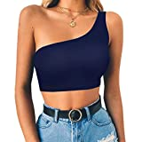 Ladies Vests Fashion Sexy Honey Cute Letter Printed T-Shirt Camisole One Shoulder Crop Tops Blouse (M, Dark Blue)