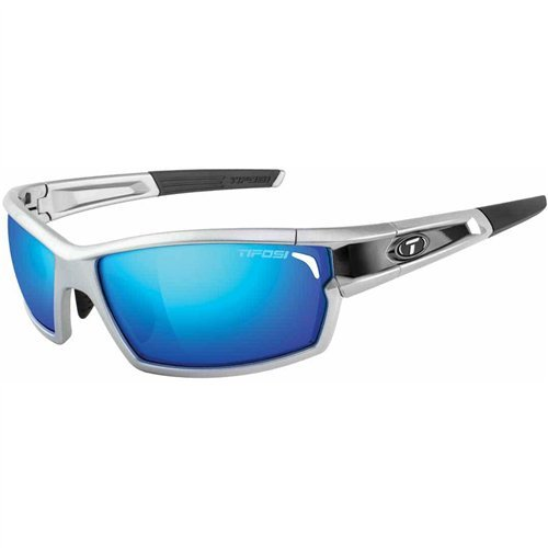 (Tifosi Camrock Silver/Black Interchangeable Sunglasses - Clarion Blue/AC Red/Clear)