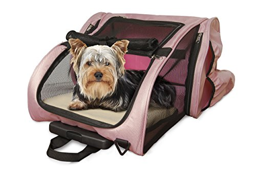 Furhaven Pet Bag | Multipurpose Travel & Hiking Backpack Roller Pet Carrier Bag for Cats & Small Dogs, Pink, One Size