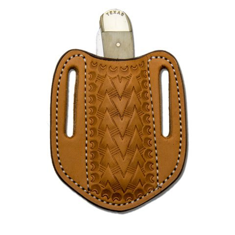 Leather Knife Sheath, Tooled Leather Vertical Pancake Sheath, Trapper Knife Sheath, TAN